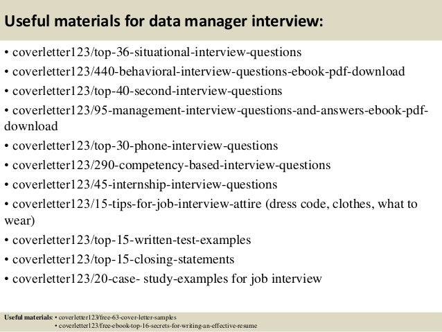... 12. Useful Materials For Data Manager ...