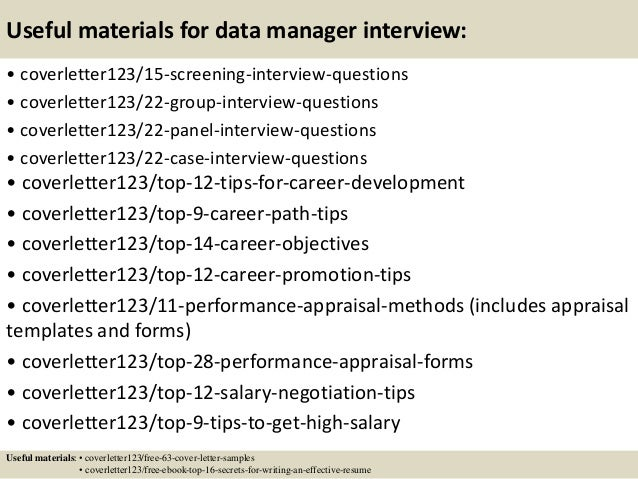 ... 15. Useful Materials For Data Manager ...