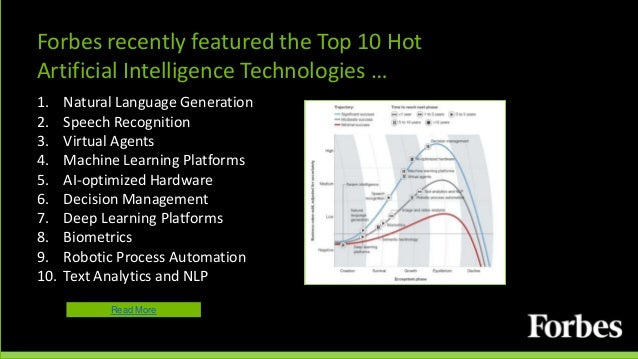 Forbes recently featured the Top 10 Hot Artificial Intelligence Technologies … 1. Natural Language Generation 2. Speech Re...