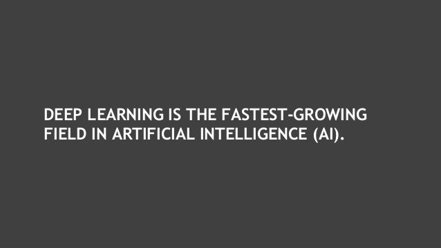 DEEP LEARNING IS THE FASTEST-GROWING FIELD IN ARTIFICIAL INTELLIGENCE (AI).