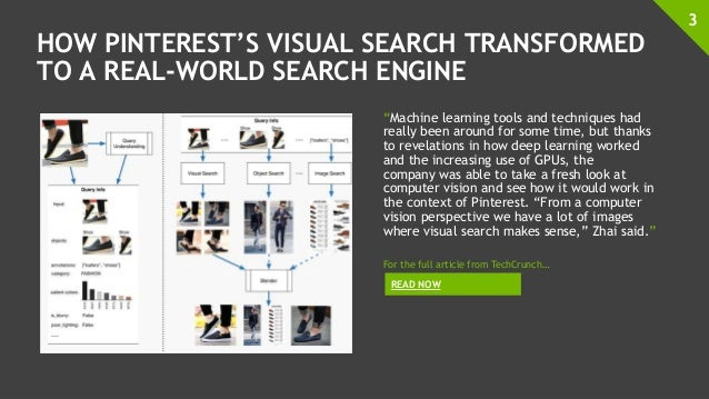 """HOW PINTEREST'S VISUAL SEARCH TRANSFORMED TO A REAL-WORLD SEARCH ENGINE """"Machine learning tools and techniques had really ..."""