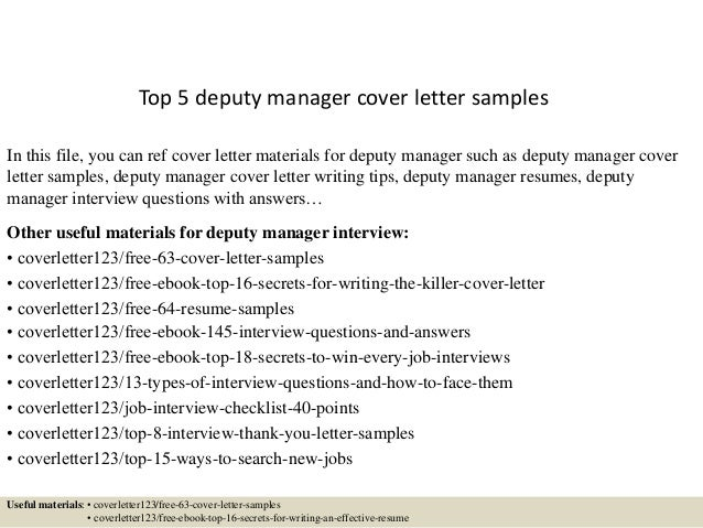 Superb Top 5 Deputy Manager Cover Letter Samples In This File, You Can Ref Cover  Letter ...