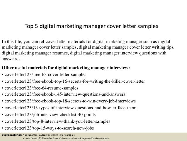 Top 5 Digital Marketing Manager Cover Letter Samples In This File, You Can  Ref Cover ...