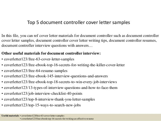 Top 5 Document Controller Cover Letter Samples In This File, You Can Ref Cover  Letter ...
