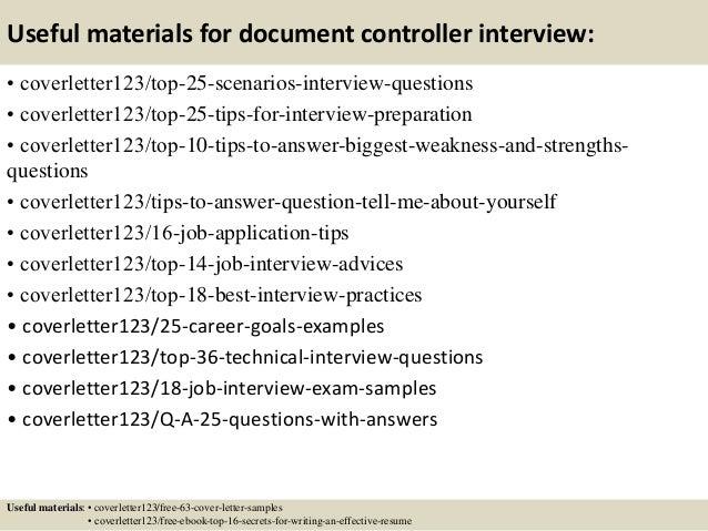 sample cv for document controller