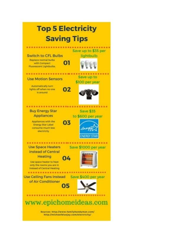 Top 5 electricity saving tips