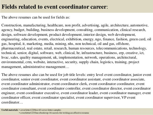 Top 5 event coordinator cover letter samples