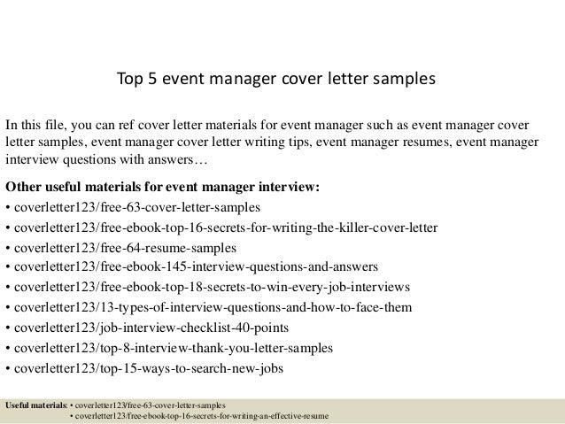 Superior Event Management Cover Letter