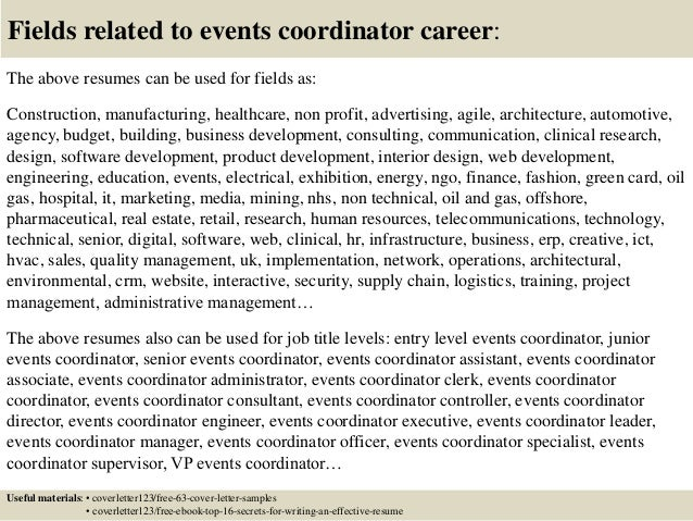 events coordinator cover letters