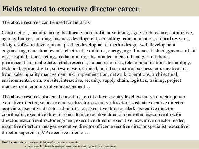 sample cover letter executive director