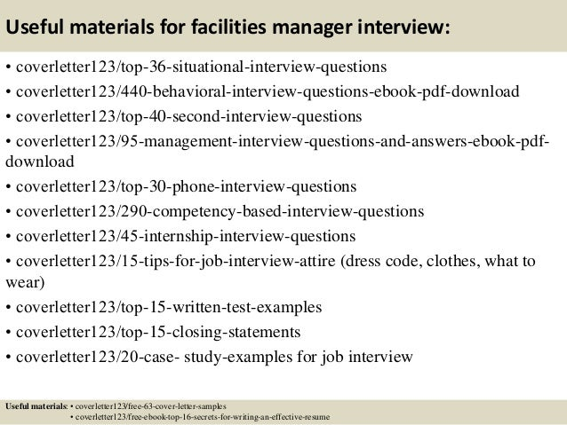 facilities manager cover letters