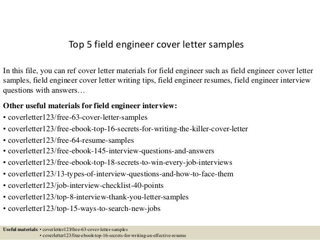 Top 5 Field Engineer Cover Letter Samples In This File, You Can Ref Cover  Letter ...