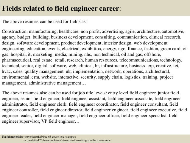 Perfect Field Engineer Cover Letters