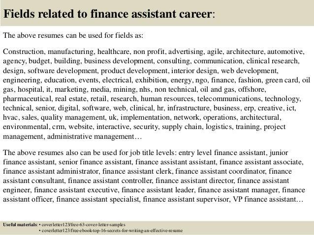 job application for finance assistant