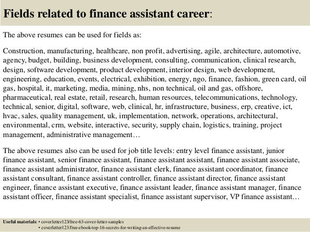 ... 16. Fields Related To Finance Assistant ...