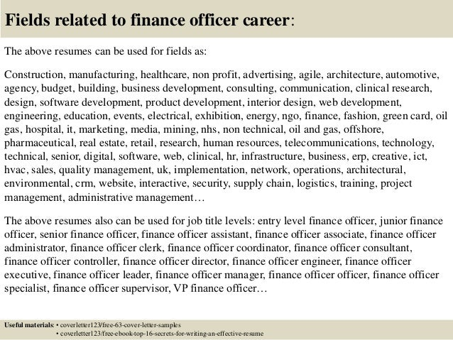 top 5 finance officer cover letter samples