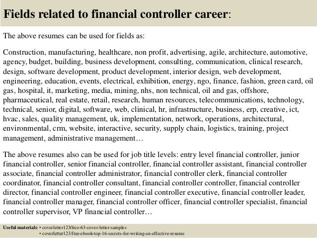 Marvelous ... 16. Fields Related To Financial Controller ...