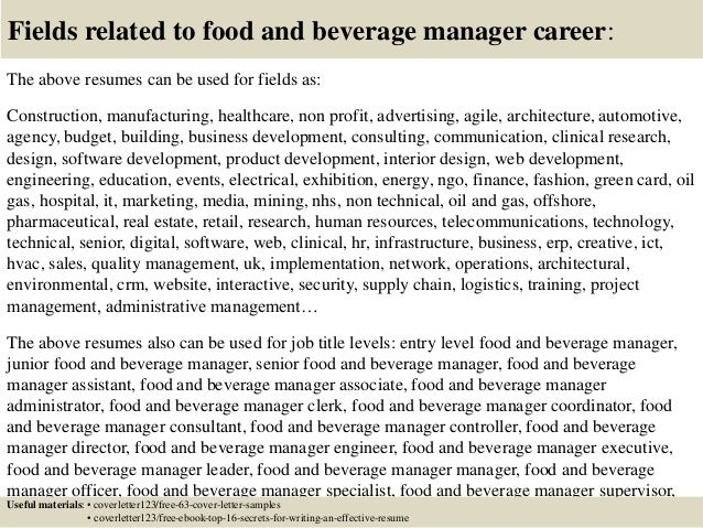 ... 16. Fields Related To Food And Beverage Manager ...