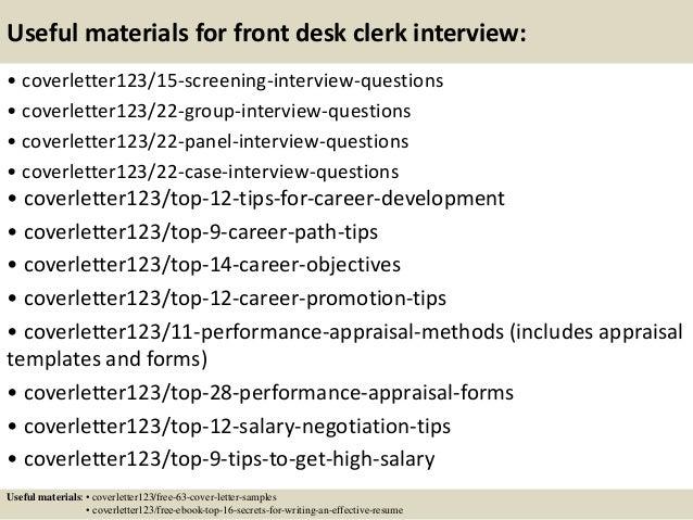 ... 15. Useful Materials For Front Desk Clerk ...