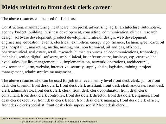 Top 5 Front Desk Clerk Cover Letter Samples