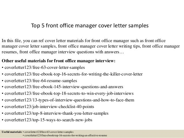 Cover Letter For Front Office Manager