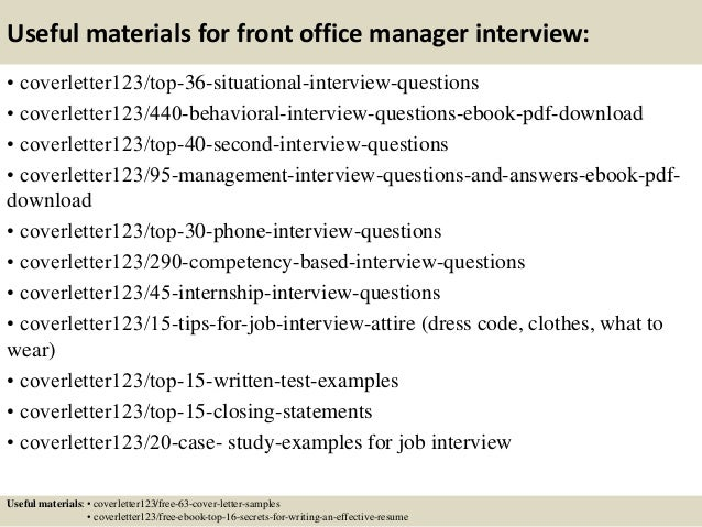... 12. Useful Materials For Front Office Manager ...