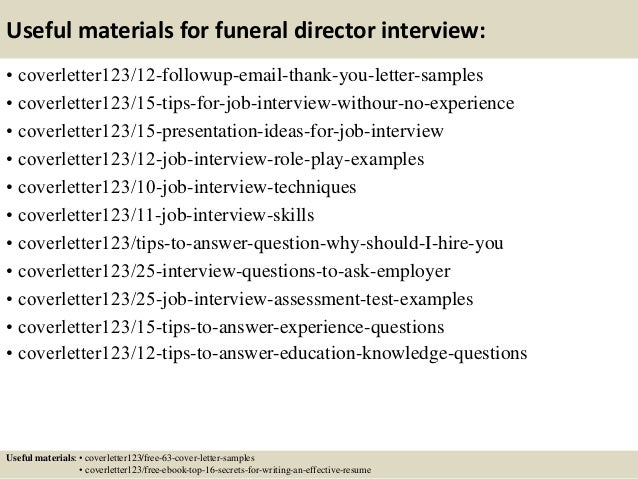 Funeral Director Cover Letter