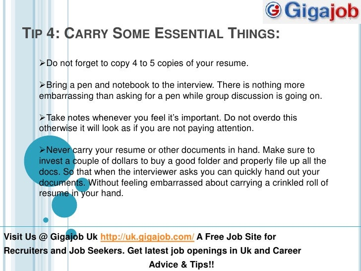 bring resume to