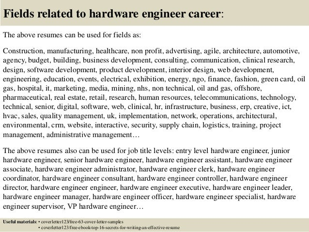 Top  Hardware Engineer Cover Letter Samples