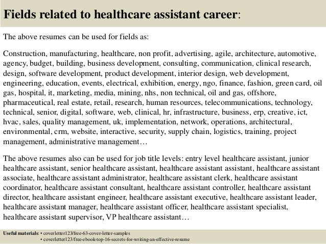 16 Fields Related To Healthcare Assistant Cover Letter Aide
