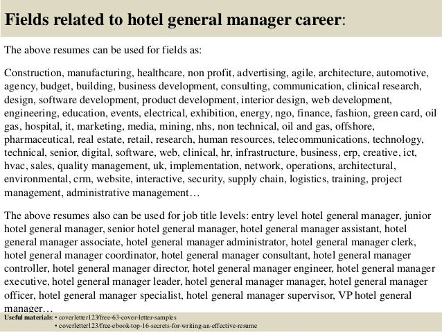 Top 5 hotel general manager cover letter samples