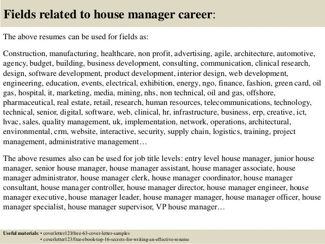 Top 5 house manager cover letter samples