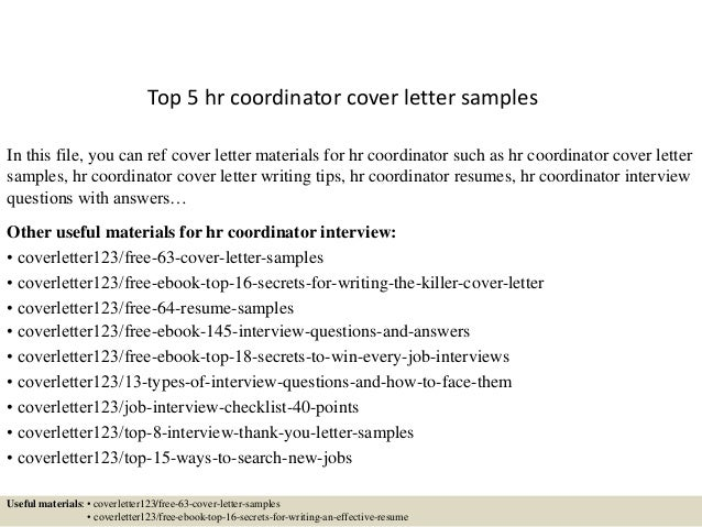 Top 5 Hr Coordinator Cover Letter Samples In This File, You Can Ref Cover  Letter ...
