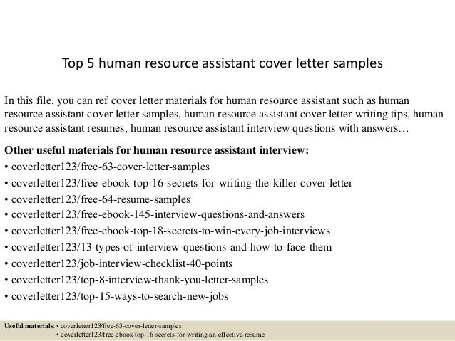 Top 5 Human Resource Assistant Cover Letter Samples In This File You Can Ref