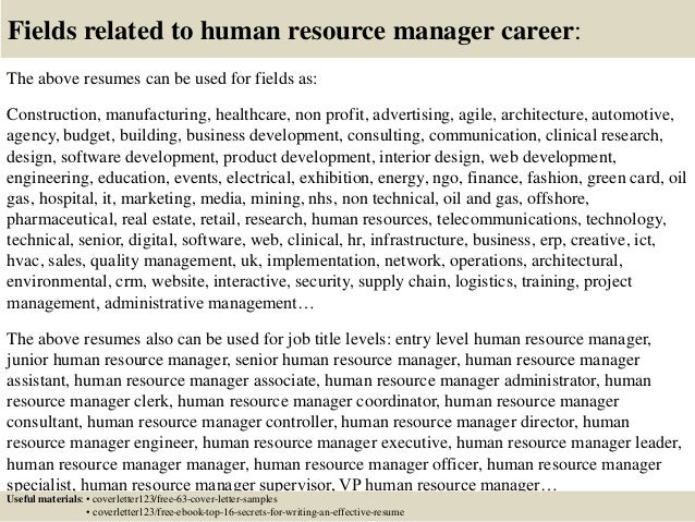 16 fields related to human resource manager. Resume Example. Resume CV Cover Letter