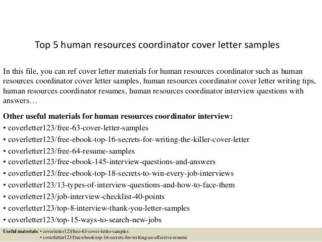 cover letter for human resource coordinator - top 5 human resources coordinator cover letter samples