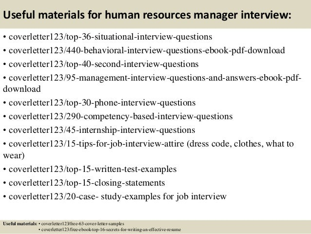 12 useful materials for human resources manager - Sample Human Resources Manager Cover Letter