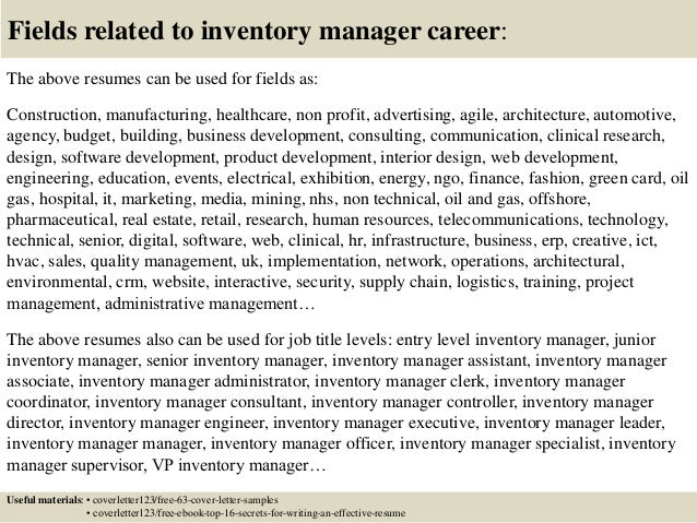 Inventory Control Manager Job Description Assistant Resume