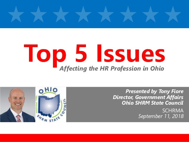 z Presented by Tony Fiore Director, Government Affairs Ohio SHRM State Council SCHRMA September 11, 2018 Affecting the HR ...