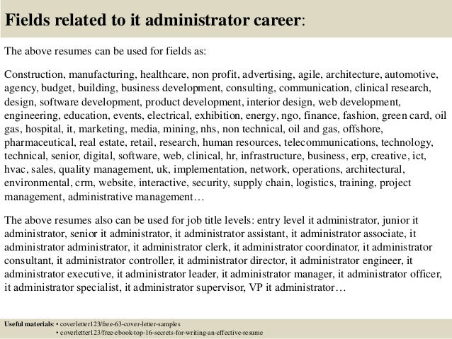 Top 5 it administrator cover letter samples