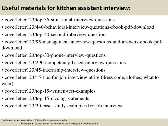 ... 12. Useful Materials For Kitchen Assistant ...