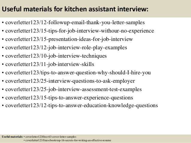 ... 14. Useful Materials For Kitchen Assistant ...