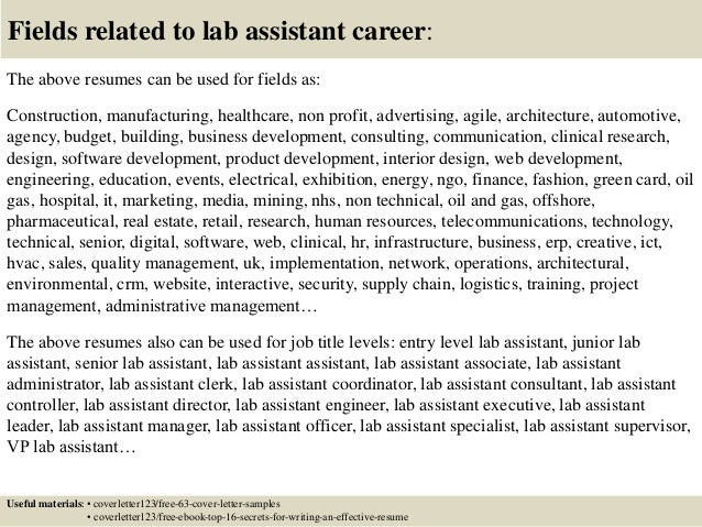 Top 5 Lab Assistant Cover Letter Samples Entry Level