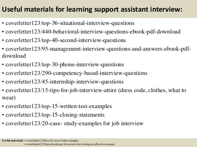 Cover Letters For Learning Support