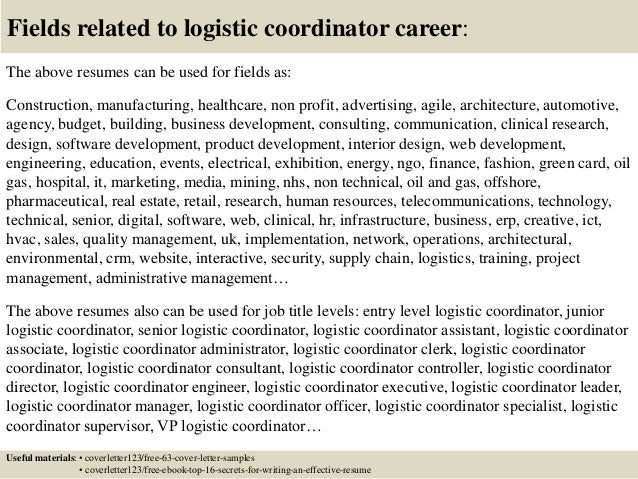 16 Fields Related To Logistic Coordinator