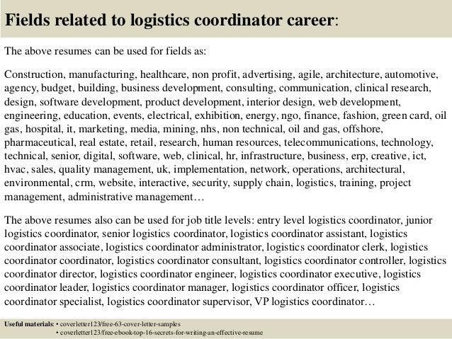 Top 5 logistics coordinator cover letter samples
