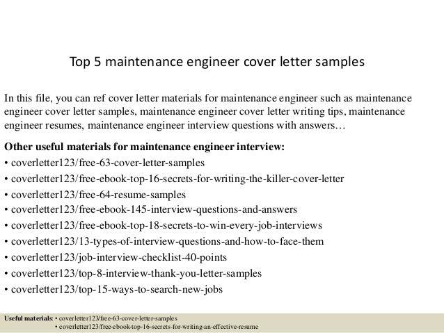 Application Letter Maintenance Engineer - Maintenance ...