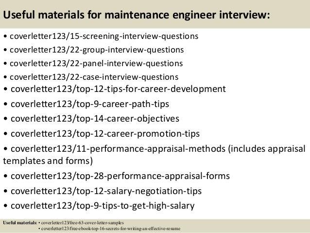 Application letter maintenance engineer