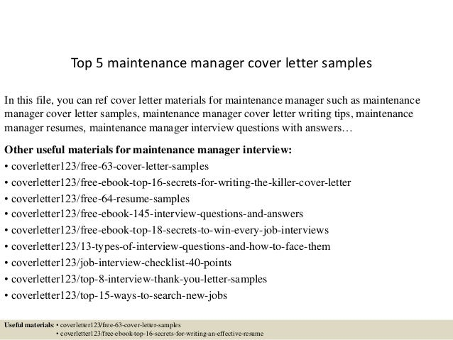 Top 5 Maintenance Manager Cover Letter Samples In This File, You Can Ref Cover  Letter 1. Application ...