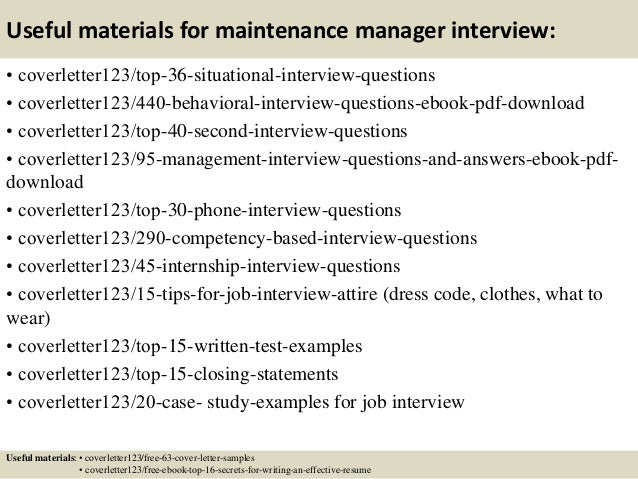 Maintenance Manager Resume Cover Letter - Constes.com